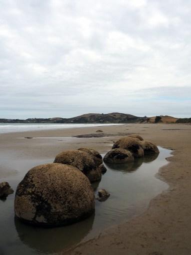 Les Moeraki boulders sur la plage