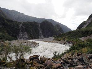Le chemin laissé par la fonte du glacier Fox
