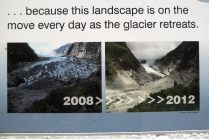 Evolution du glacier Franz Josef entre 2008 et 2012... 4 ans seulement séparent ces deux photos...