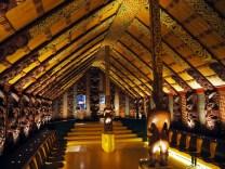 Réproduction d'une maison Maori typique au Te Papa Museum