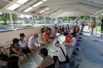Bain de pieds au parc thermal de Kuirau à Rotorua