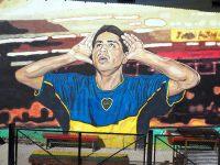 Fresque en hommage à Juan Román Riquelme, joueur argentin du club Boca Juniors