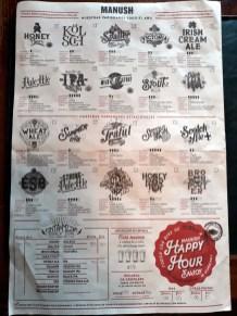 Carte des bières artisanales