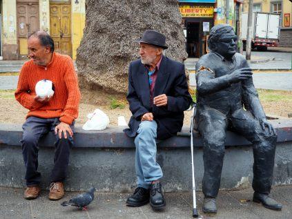Dans le bas de la ville à Valparaiso