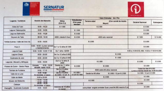 Tarifs officiels des excursions à San Pedro de Atacama