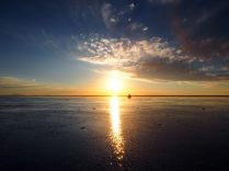 Coucher de soleil au salar d'Uyuni