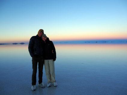 Elise et Julien au lever du jour au salar d'Uyuni