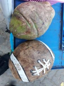 On trouve de tout au marché de El Alto... y compris des callebasses transformées en ballon de foot américain...