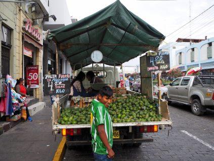 Vendeur d'avocats, à proximité d'un marché à Arequipa