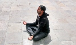 Meditating near Kinar Kailash