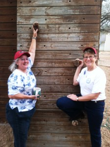 """Anita and Jenny worked the climbing wall and the zip line, both places where """"hot spots"""" and really busy."""