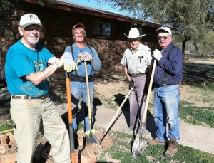 The guys, Bruce W., Don, Ken, and Bruce H. dug in and arranged brick borders for many plumbing and water access areas through the camp grounds.