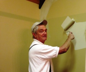 Repaired and painted sheetrock walls in 16 different cabins and the bath house.