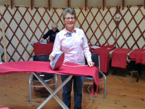 Ladies sewed, ironed and installed a LARGE number of curtains in several lodges.