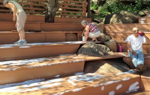 Marlene and Connie along with Dory and Kathy painted two large bleacher/stadium areas with Ken's help.(?)