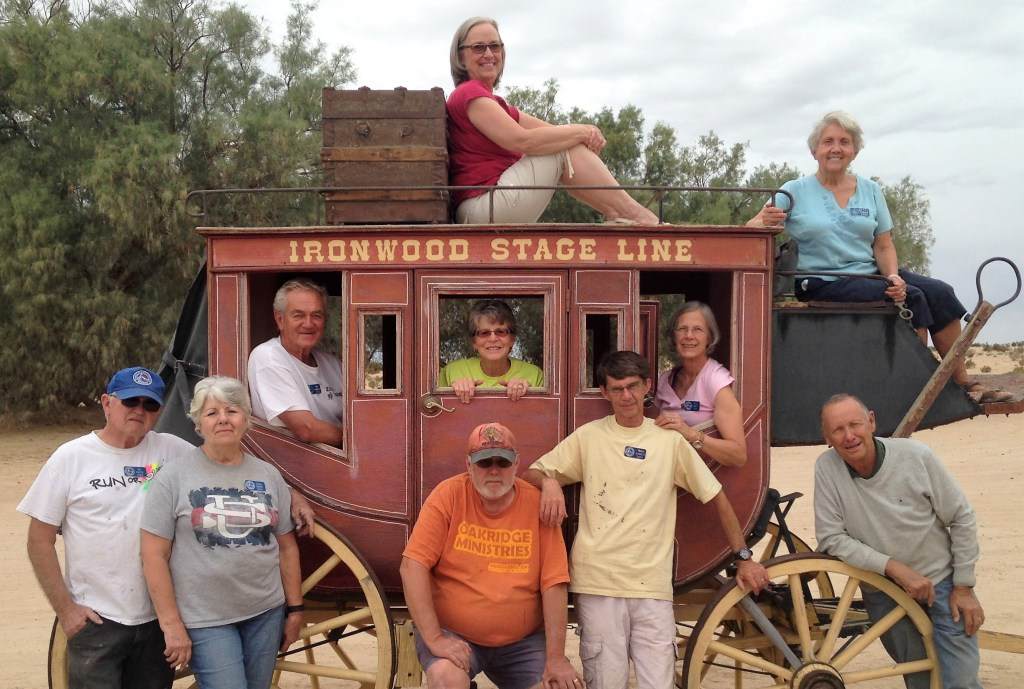 Another great group of SOWERs assembled to do the tasks and encourage the camp staff members. From the left- -Bill and Shirley, Don and Jenny, Gary and Stephanie(perched on top of coach),Terry and Alice(In coach), Cam and Betty(In the drivers seat).