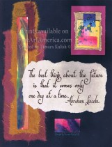 An encouraging quote beautifully hand written in calligraphy script, and then collaged onto watercolor painted papers, some with natural elements such as flower petals and leaves embedded within. These are gorgeous pieces which will make stunning wall art or heartfelt notecards! #watercolors, #collage, #multimedia, #quotes, #inspirations, #handmadepapers