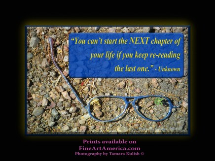 """""""You can't start the NEXT chapter of your life if you keep re-reading the last one."""" - Unknown. One of the quotes which is included in the book """"On Becoming a Lemonade Maker"""" by Tamara Kulish."""