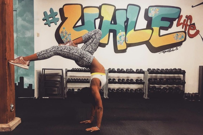 Asia Nichole Jones practices a pose at Uhle Fitness Studios in Chicago.