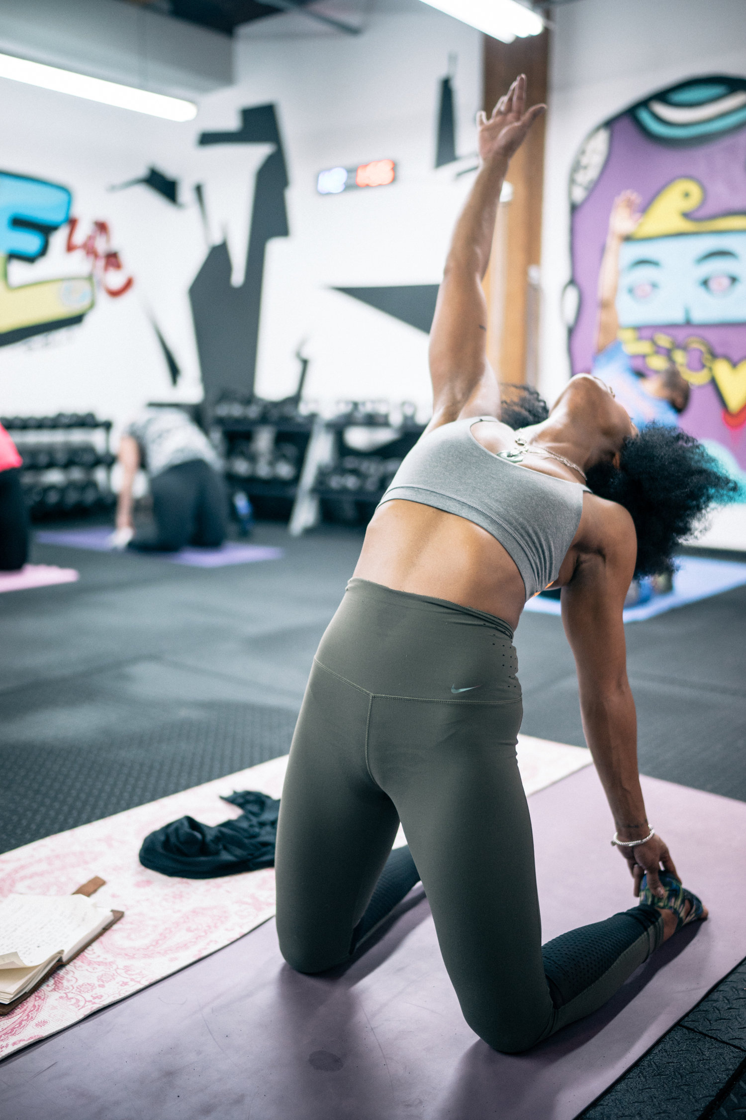 Asia Nichole Jones leads a class at Uhle Fitness Studios in Chicago.