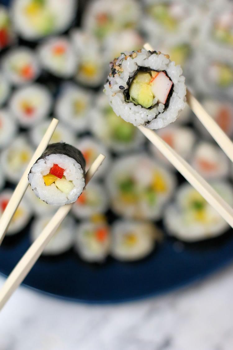 veggie maki sushi and California roll