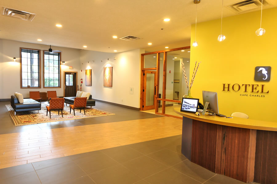 Hotel Cape Charles Front Desk And Lobby