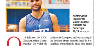 Athos Costa escreve ao Lance!