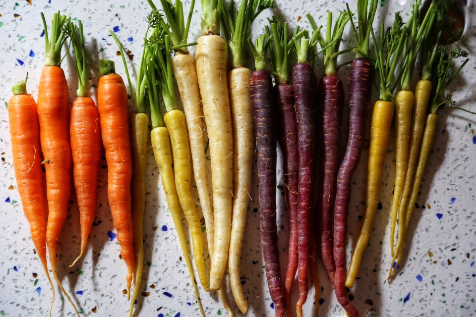 A bunch of rainbow carrots.
