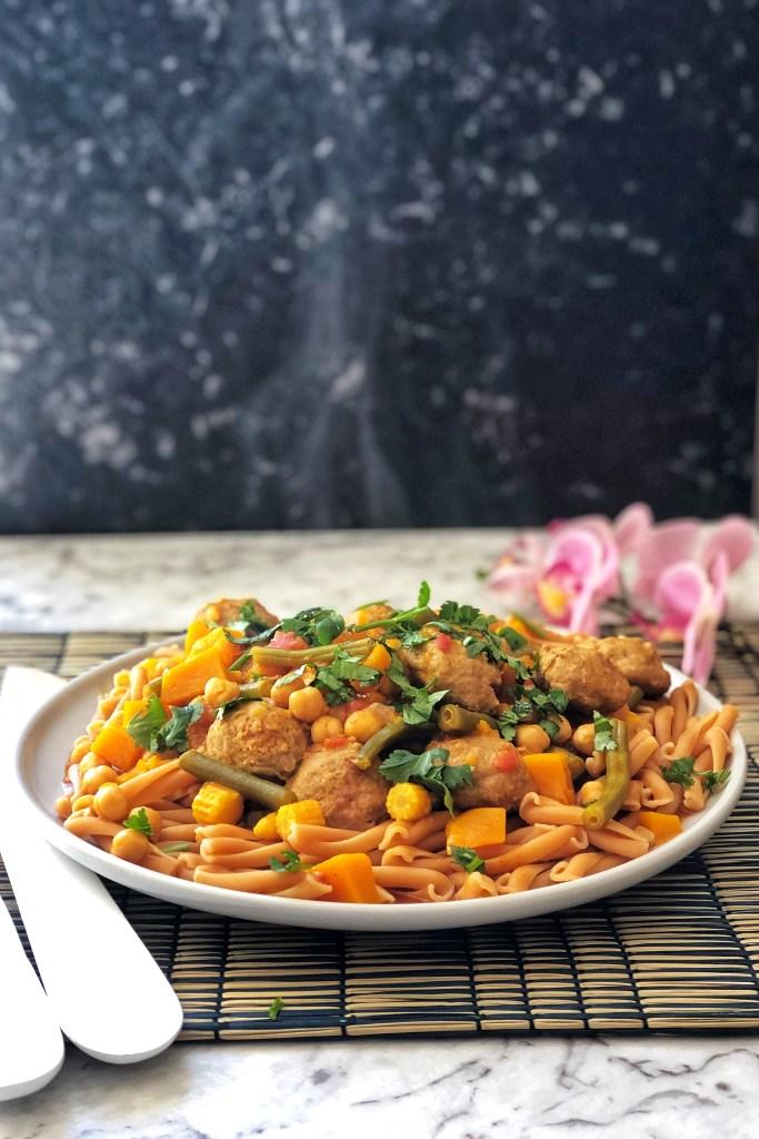 Meatball pumpkin curry in a bowl.