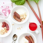 Baked Rhubarb Compote with Honey Yogurt and Toasted Slivered Almonds