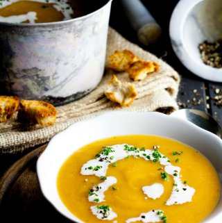Pumpkin Soup with Rustic Croutons