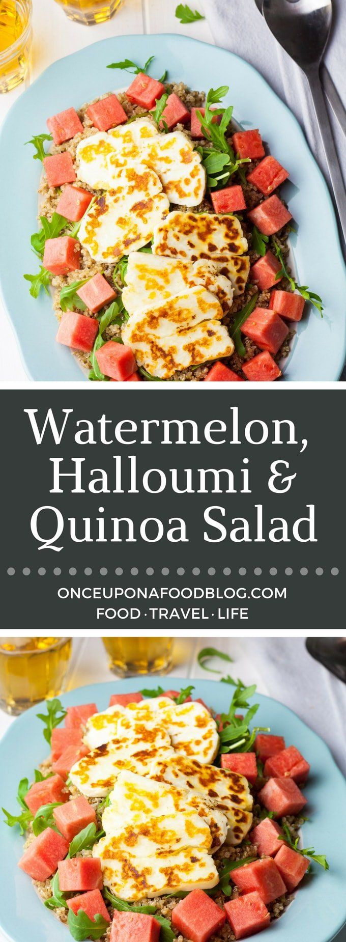 A gorgeous watermelon halloumi salad, packed full of summer flavours. A healthy mid-week supper or weekend lunch. Easy to adapt to vegan. #watermelon #halloumi #halloumisalad #recipe #onceuponafoodblog