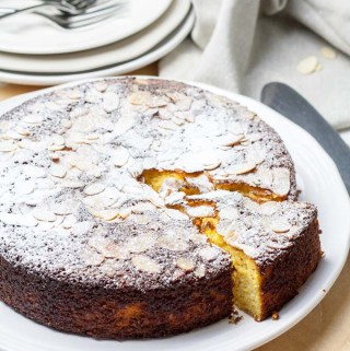 Orange almond cake on a plate