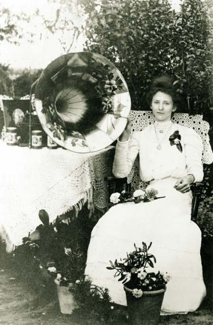 Woman and Edison Phonograph