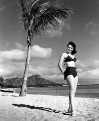 Donna Reed on the beach in Honolulu, Hawaii, during a break in production of From Here to Eternity