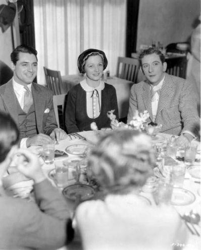 Cary Grant and Edward Everett Horton flank luncheon guest Irene Castle at the Paramount commissary