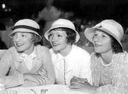 Helen Hayes, Claudette Colbert and Ruth Gordon at the Paramount Studios Commissary, c.1932.