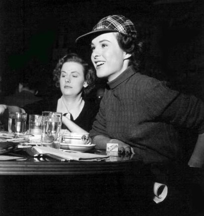 Helen Westcott and Jean Peters the 20th Century-Fox commissary