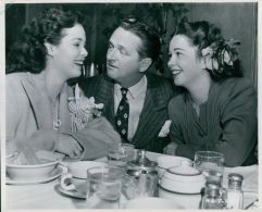 Nancy Gates, Wally Brown, and Margie Stewart at the RKO commissary, 1944