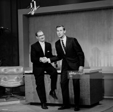 TONIGHT SHOW STARRING JOHNNY CARSON -- Episode 1-- Pictured: (l-r) Groucho Marx introduces the new host of the Tonight Show, Johnny Carson -- Photo by: NBCU Photo Bank