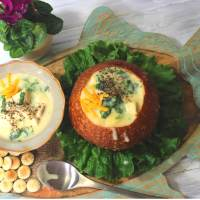 Creamy Fish Chowder with spinach -- my bowlful of soul
