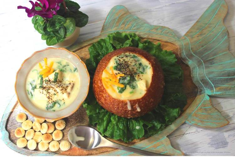 Creamy Fish Chowder with spinach — my bowlful of soul