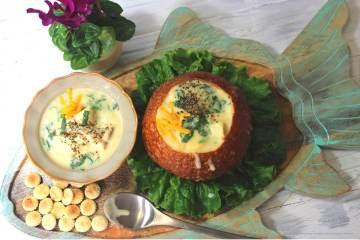 Creamy Fish Chowder with spinach -- my bowlful of soul