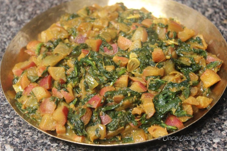 Mooli Palak — Radish cooked with Spinach and Indian spices