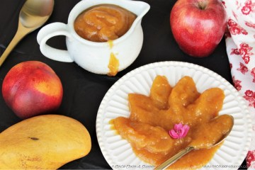 Spiced Mango Peach Applesauce -- simple, easy, healthy and most delicious