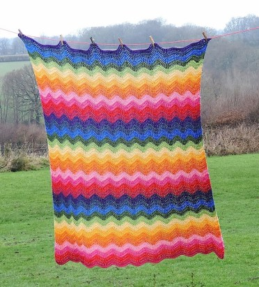 Rainbow Ripple Crochet Blanket