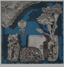 """""""Still Life with Carnation (Blue)."""" Etching with chine collé, 2013."""