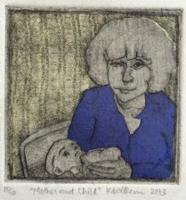 """""""Mother and Child."""" Drypoint with chine collé."""