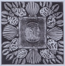 """4"""" x 4"""" etching on blue paper."""