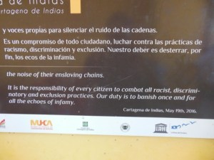 Acknowledgment of the slave history of Cartagena